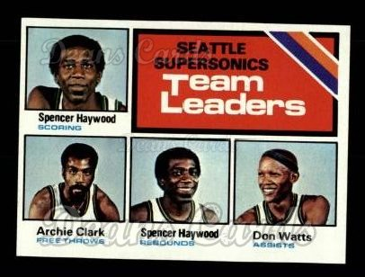 1975 Topps #132   -  Don Watts / Spencer Haywood / Archie Clark Sonics Team Leaders
