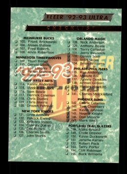 1992 Fleer Ultra #200   Checklist 105-200