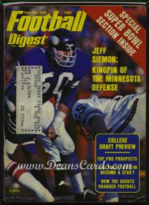 1976 Football Digest    February  - Jeff Siemon