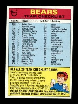 1974 Topps  Checklist   Chicago Bears Team