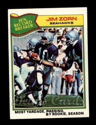 1977 Topps #455   -  Jim Zorn Record Breaker