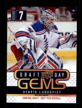 2009 Upper Deck Draft Day Gems #11 GEM Henrik Lundqvist