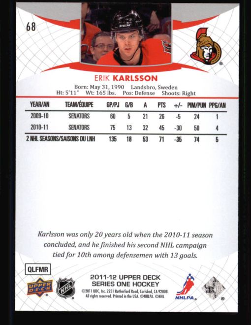 2011 Upper Deck #68  Erik Karlsson