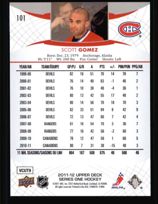 2011 Upper Deck #101  Scott Gomez