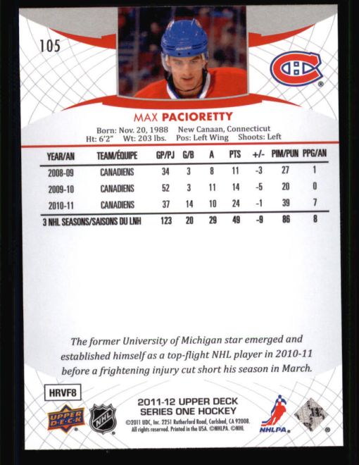 2011 Upper Deck #105  Max Pacioretty