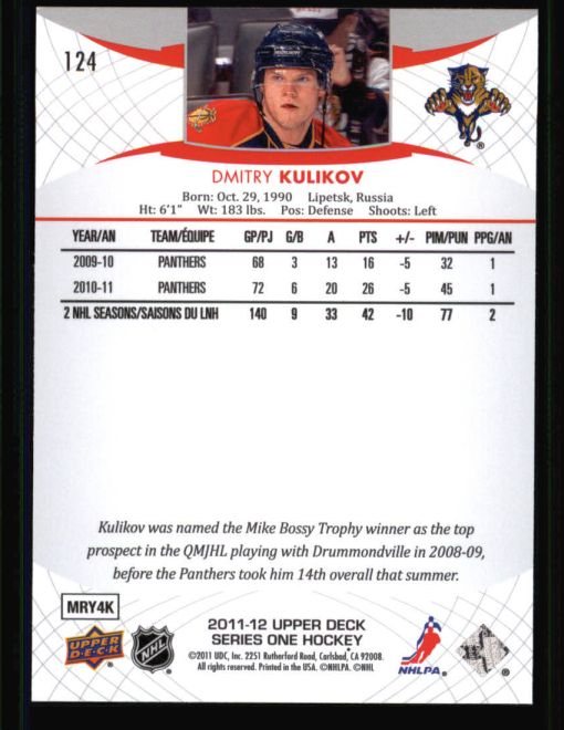 2011 Upper Deck #124  Dmitry Kulikov