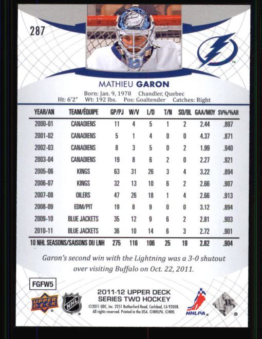 2011 Upper Deck #287  Mathieu Garon