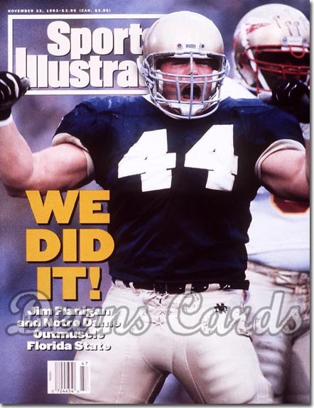 1993 Sports Illustrated - With Label   November 22  -  Jim Flanigan (Notre Dame Fighting Irish)