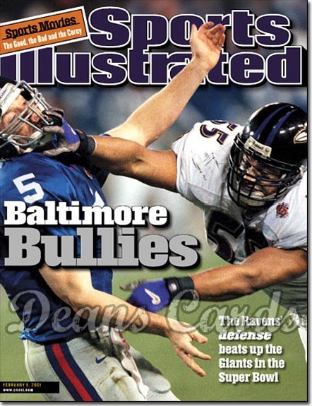 2001 Sports Illustrated - With Label   February 5  -  Kerry Collins (NY Giants) Jamie Sharper (Ravens)