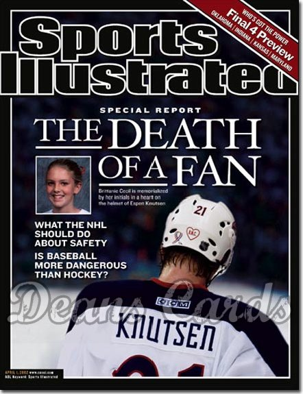 2002 Sports Illustrated   April 1  -  Espen Knutsen Brittanie Cecil (Columbus Blue Jackets)