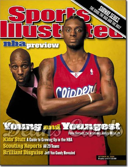 2000 Sports Illustrated - With Label   October 30  -  Kevin Garnett (MN Timberwolves) Darius Miles (LA Clippers)