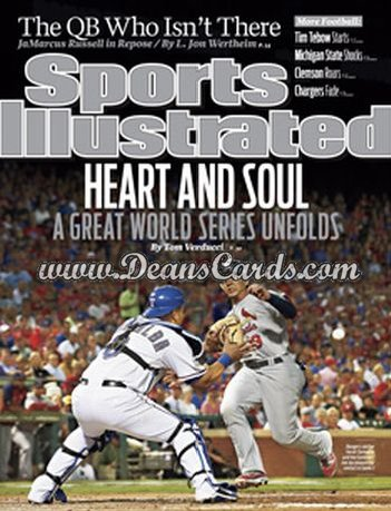 2011 Sports Illustrated   October 31  -  Yorvit Torrealba / Jon Jay / Heart and Soul