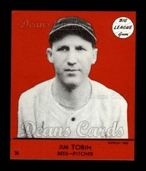 1941 Goudey Reprint #30 RED Jim Tobin
