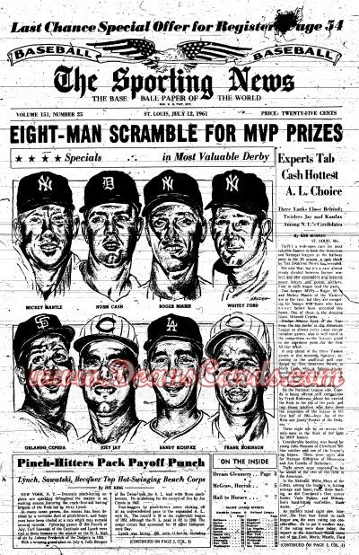 1961 The Sporting News   July 12  - Mickey Mantle / Roger Maris / Whitey Ford / Norm Cash / Sandy Koufax / Orlando Cepeda
