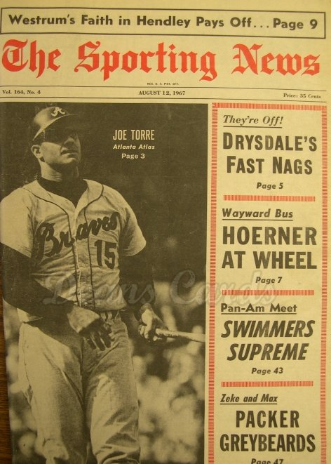 1967 The Sporting News   August 12  - Joe Torre / Don Drysdale