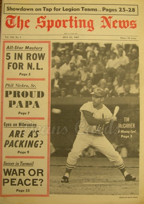 1967 The Sporting News   July 22  - Tim McCarver / All-Star game coverage