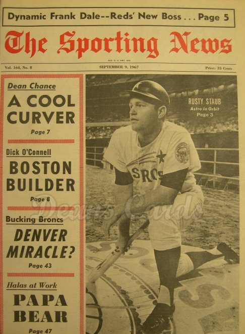 1967 The Sporting News   September 9  - Rusty Staub / Stan Musial