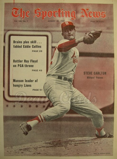 1969 The Sporting News   August 30  - Steve Carlton / Eddie Collins / Jim Palmer's no-hitter