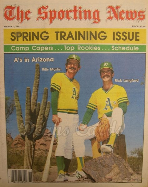 3/7/1981 - Rick Langford/Billy Martin , Sporting News ,