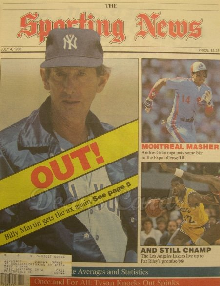 7/4/1988 - Billy Martin. Andres Galarraga , Sporting News ,