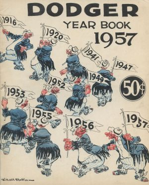 1957 Brooklyn Dodgers Yearbook - The Bum holding pennants