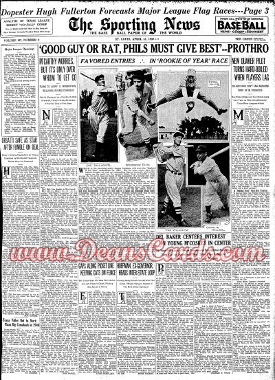 1939 The Sporting News   April 13  - Ted Williams w/Rookies