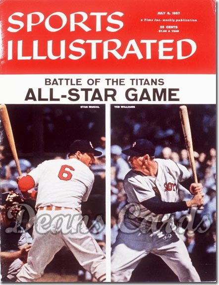 1957 Sports Illustrated - With Label   July 8  -  Ted Williams Boston Red Sox Stan Musial St. Louis Cardinals