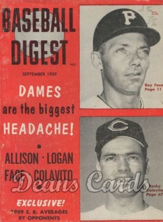 1959 Baseball Digest   -  Roy Face / Rocky Colavito  September