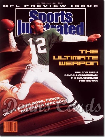 1989 Sports Illustrated - With Label   September 11  -  Randall Cunningham (Philadelphia Eagles) NFL Issue