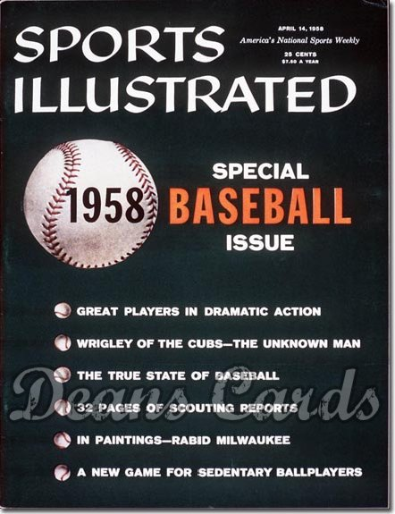 1958 Sports Illustrated - With Label   April 14  -  Baseball Preview
