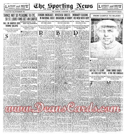 1927 The Sporting News   August 4  - Bob Reeves
