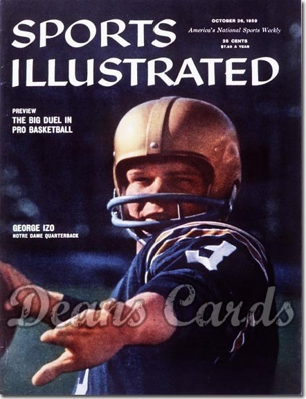 1959 Sports Illustrated - With Label   October 26  -  George Izo Notre Dame Fighting Irish