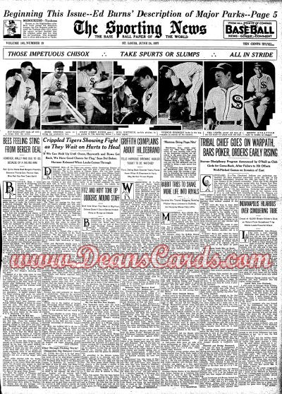 1937 The Sporting News   June 24  - 37 Chisox