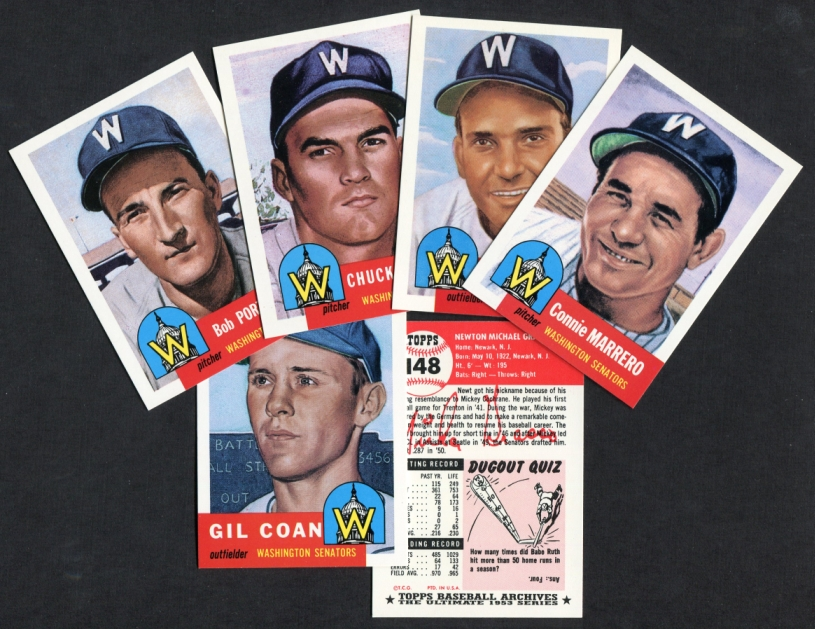 1953 Topps Archives     REPRINT Washington Senators Team Set