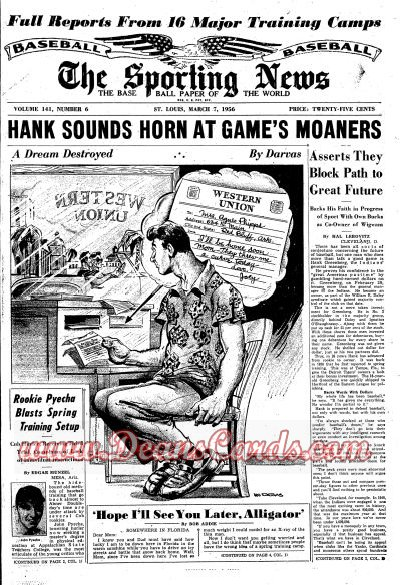 1956 The Sporting News   March 7  - Hank Greenberg / Ford Frick