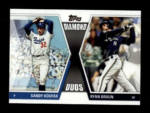2011 Topps Update Diamond Duos #30 DDU  -  Sandy Koufax / Ryan Braun Diamond Duos