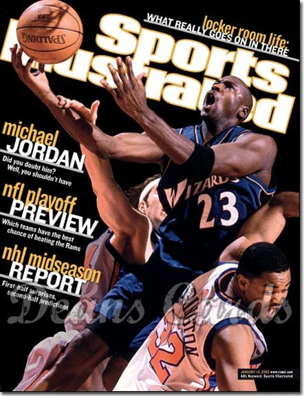 2002 Sports Illustrated - With Label   January 14  -  Michael Jordan Washington Wizards