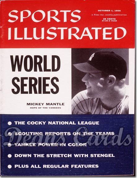 1956 Sports Illustrated - With Label   October 1  -  Mickey Mantle NY Yankees World Series