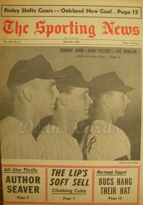1967 The Sporting News   July 29  - Tommy John / Tom Seaver / Mickey Mantle