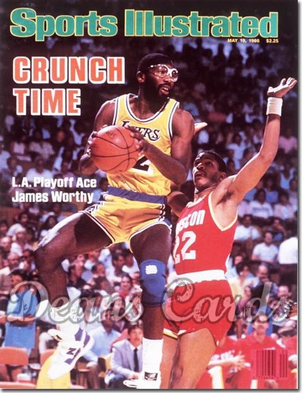 1986 Sports Illustrated - With Label   May 19  -  James Worthy (Los Angeles Lakers)