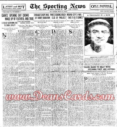 1923 The Sporting News   May 3  - Everett Scott / 1000 Straight Games