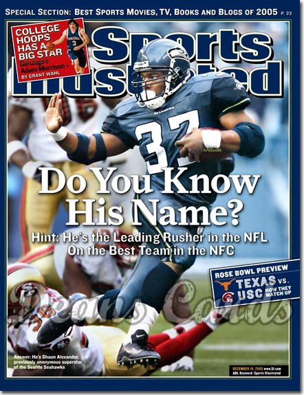 2005 Sports Illustrated - With Label   December 19  -  Shaun Alexander Seattle Seahawks