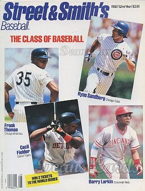 1992 Street & Smith's Baseball Yearbook   -  Frank Thomas / Ryne Sandberg / Cecil Fielder / Barry Larkin