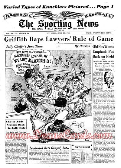 1953 The Sporting News   June 10  - Hoyt Wilhelm / Ralph Kiner