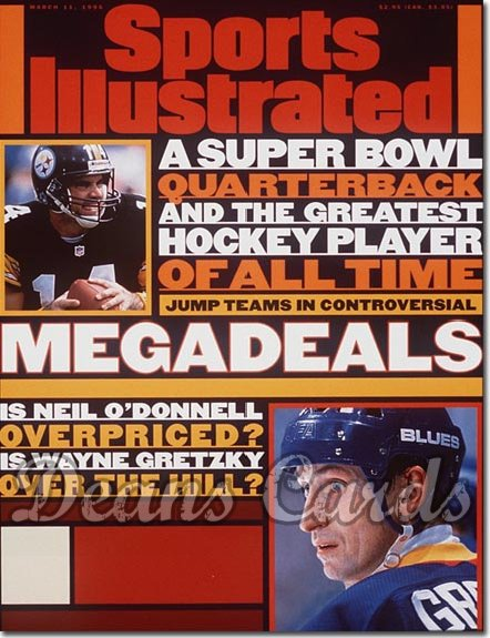 1996 Sports Illustrated - With Label   March 11  -  Wayne Gretzky Blues Neil O'Donnell Steelers