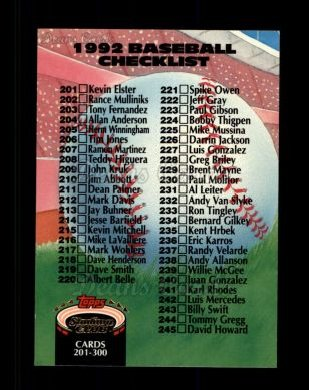 1992 Topps Stadium Club #300   Checklist 201-300