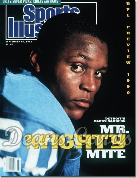 1990 Sports Illustrated - With Label   September 10  -  Barry Sanders (Detroit Lions) Pro Football Issue