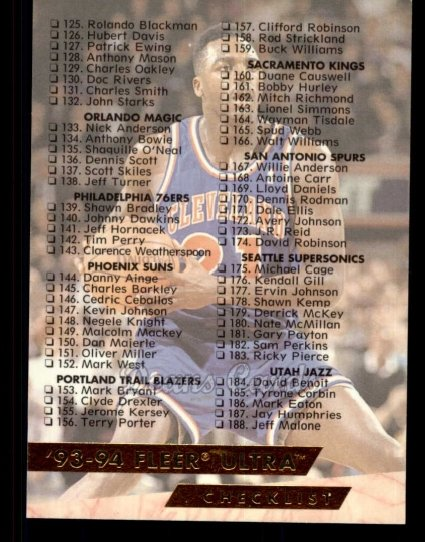 1993 Fleer Ultra #200  Checklist