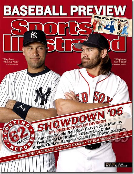 2005 Sports Illustrated - With Label   April 4  -  Derek Jeter Yankees Johnny Damon Red Sox