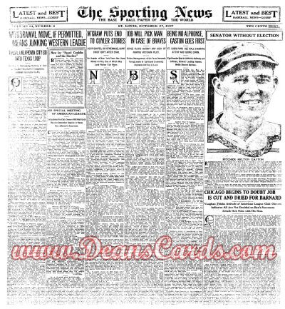 1927 The Sporting News   October 27  - Greatest Teams series begins: '71